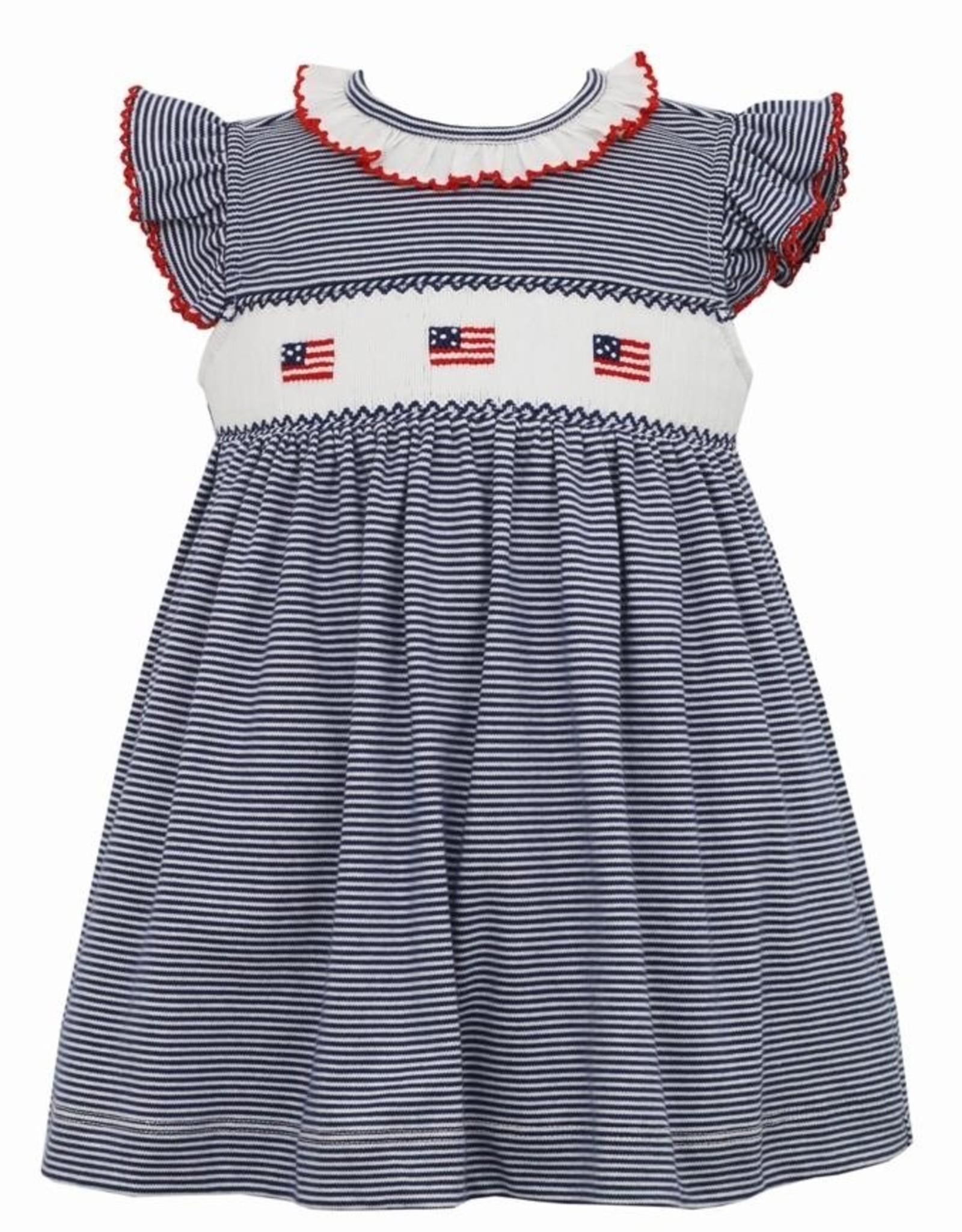 Petit Bebe Flags Dress w/ Ruffle Collar & Sleeves