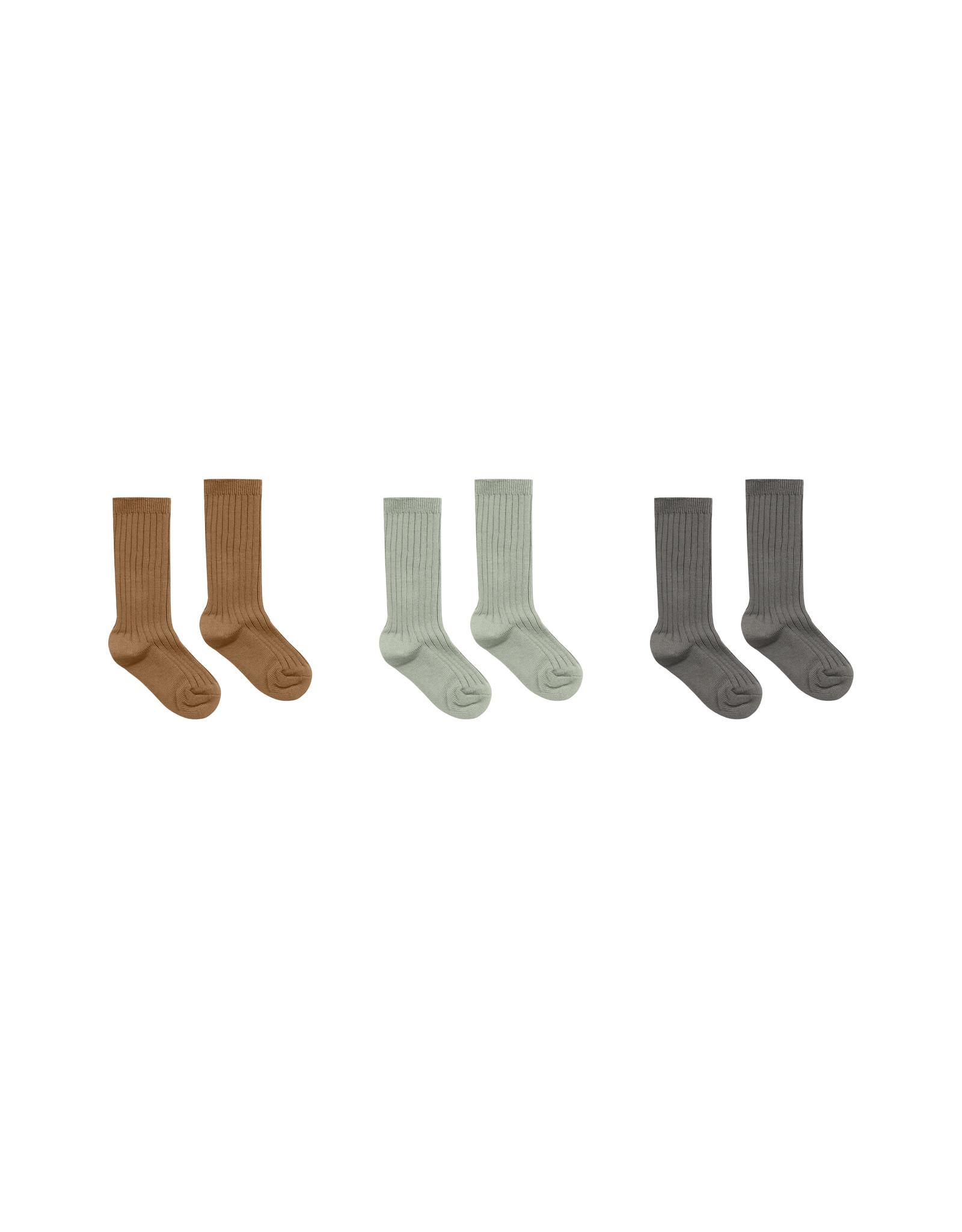 Rylee + Cru Solid Ribbed Socks - 3 Pack