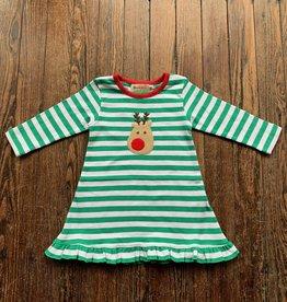 Luigi Kids L/S Ruffle Rudolph Dress