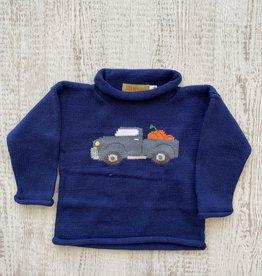 Luigi Kids Roll Neck Pumpkin Truck Sweater