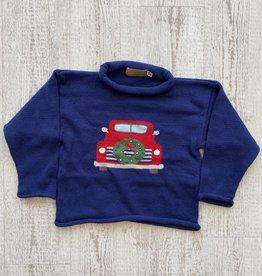 Luigi Kids Roll Neck Christmas Wreath Truck Sweater