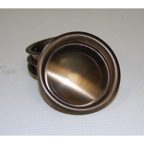 """Harney Hardware 2 1/8"""" Antique Brass Flush Finger Pull"""