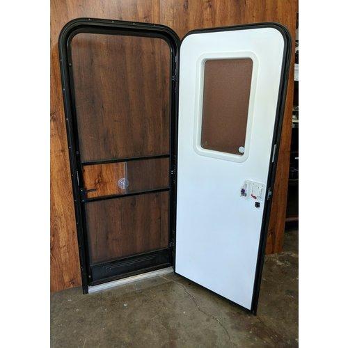 "Lippert Components 28"" x 72"" Radius Entry Door RH White w/ Black Trim"