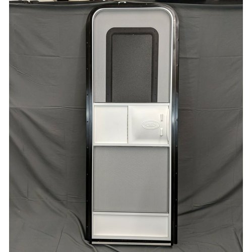 "Lippert Components 26"" x 72"" Radius Entry Door RH White w/ Black Trim"