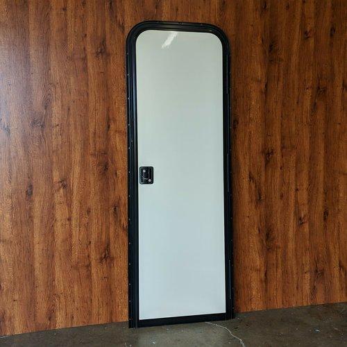 "Lippert Components 24"" x 72"" Radius Entry Door RH Off White w/ Black Trim"