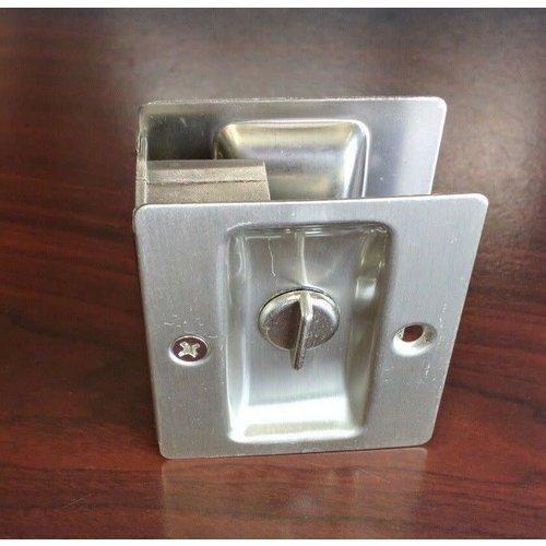 Fastec Industrial Locking Satin Nickel Pocket Door Hardware Set