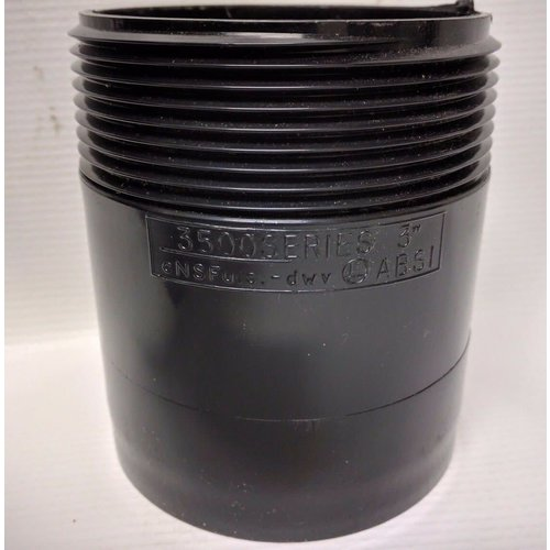 """Unbranded 3"""" x 3"""" One-End Threaded ABS Plumbing Fitting"""