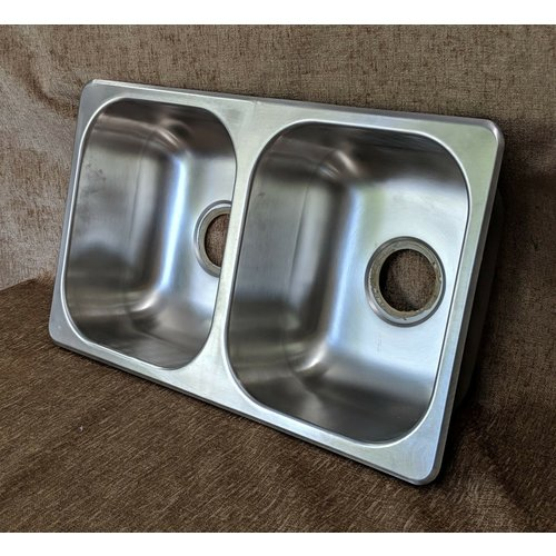 "Lippert Components 27"" x 16"" x 7"" Double Basin Stainless Steel Kitchen Sink"