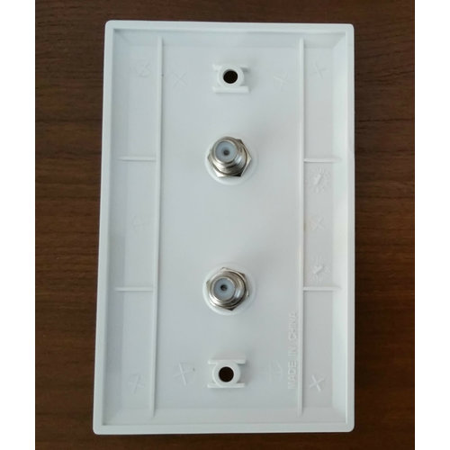 Steren Double Coax Wall Plate Connector White
