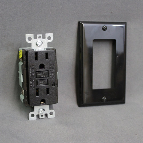 RV Designer Black GFCI Dual Outlet Receptacle w/ Cover Plate