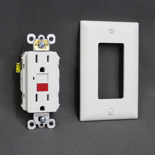 White GFCI Dual Outlet Receptacle w/ Cover Plate