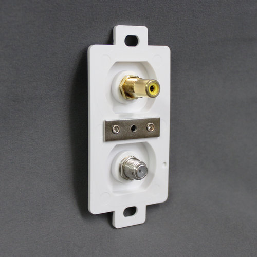 Unbranded White Coax and RCA Receptacle