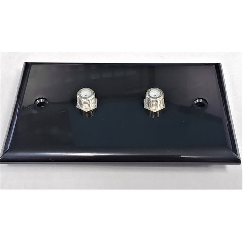 Unbranded Double Coax Wall Plate Connector Black