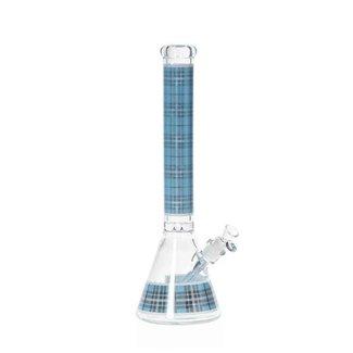 "Hoss 18"" beaker, blue plaid pattern"