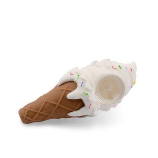 LIT Silicone Ice Cream Cone Hand Pipe w/ Glass Bowl