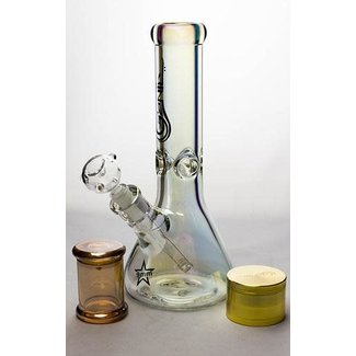 "Genie Genie 12"" Metallic Heady Glass beaker bong gift Set"