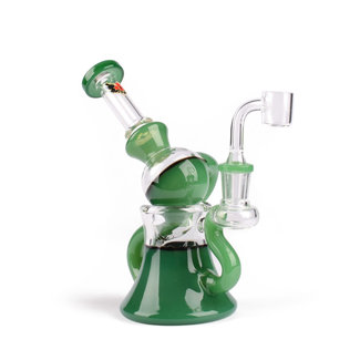 "Red Eye Glass Red Eye Glass 7"" Tall Jade Green Macrophonic Concentrate Recycler W/2 Hole"