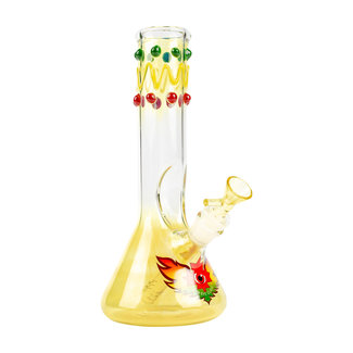"Red Eye Glass Red Eye Glass 9"" Tall Rasta Glass-On-Glass Charlie Brown Tube W/Beaker Base & Ice Catcher"