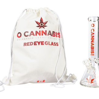 "Red Eye Glass Red Eye Glass 12"" Tall 7mm Thick O Cannabis Commemoratve Beaker Tube"