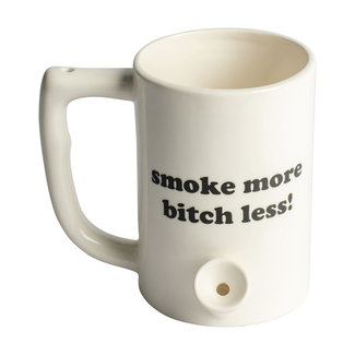 Fashion Craft Ceramic Coffee Mug Pipe 'Smoke More Bitch Less' White