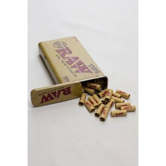 Raw Raw Rolling paper pre-rolled filter tips 100 in a tin case