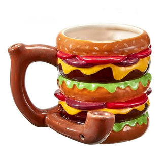 Fashion Craft Cheeseburger Ceramic Mug Pipe