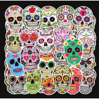 Big Dog Distribution Ltd Day of the dead Water Proof Stickers - Assorted Design - 50pcs/Pack