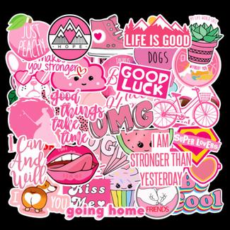 Big Dog Distribution Ltd Pink pink Water Proof Stickers - Assorted Design - 40pcs/Pac