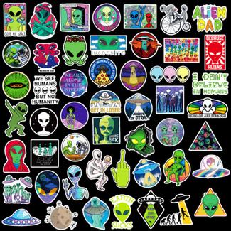Big Dog Distribution Ltd Aliens Water Proof Stickers - Assorted Design - 50pcs/Pac