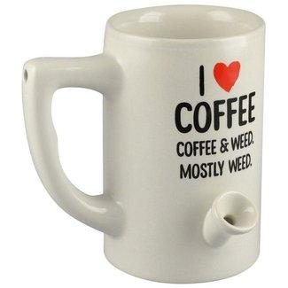 bobhq Wake & Bake 8oz Ceramic Pipe Mug - I Heart Coffee