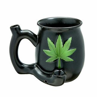 Fashion Craft Premium Roast & Toast Ceramic Mug w/ Pipe - Matte Black w/ Green Leaf