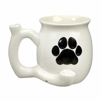 Fashion Craft Premium Roast & Toast Ceramic Mug w/ Pipe - White Mug w/ Dog Paw
