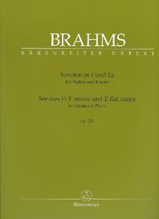 Barenreiter Brahms, Johannes: Sonata in F minor and E-flat major (violin & piano) Barenreiter