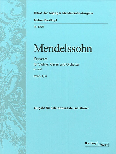 Mendelssohn, Felix: Double Concerto in D Minor (violin & piano & str orch)