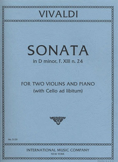 International Music Company Vivaldi, Antonio: Sonata in d minor F.13#24 (2 violins & piano, Cello ad lib)