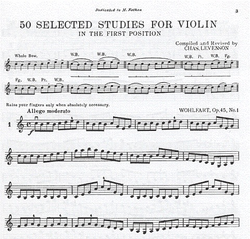 Carl Fischer Levenson, Charles: 50 Selected Studies for Violin in the First Position
