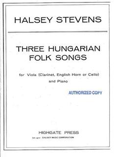 Galaxy Music Stevens, Halsey: 3 Hungarian Songs (viola & piano)