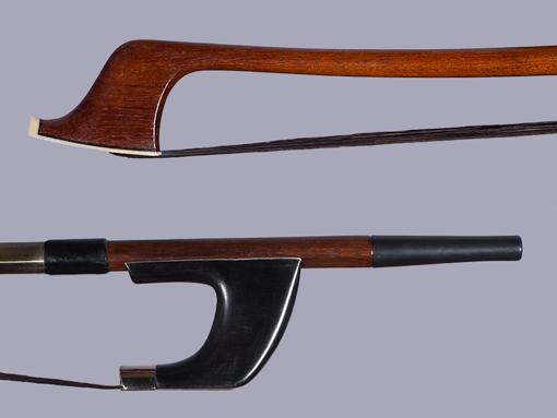 Old German bass bow, ebony/nickel
