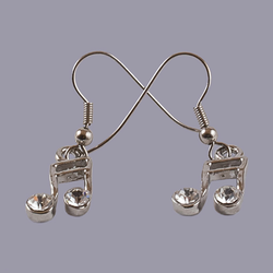 Lauren-Spencer Genuine Crystal, Silver-Colored 16th Note Earrings