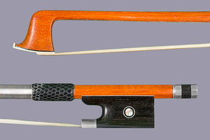 Pernambuco violin bow, unbranded, better quality, with silver-mounted ebony frog