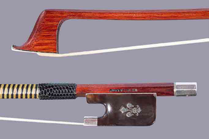 English W.E. HILL & SON cello bow, tortoise/silver, fleur de lys, by Arthur Bultitude, ENGLAND