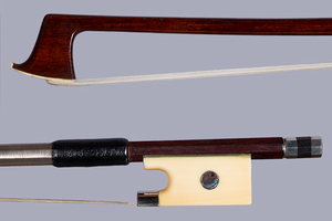 Snakewood viola bow, ivory/silver