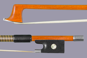 Pernambuco violin bow, unbranded, with silver-mounted ebony frog