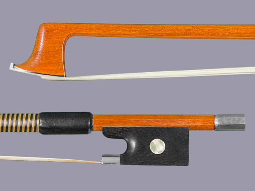 Pernambuco violin bow, unbranded, fine quality, with silver-mounted ebony frog