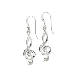 AIM Gifts Sterling Silver Earrings, Treble Clef