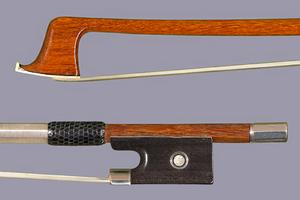 French CHARLES BAZIN-FRANCE round Pernambuco violin bow, ebony & silver, Raffin Certificate ***CERT***