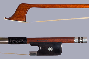 *LOTHAR SEIFERT* French bass bow, engraved silver & ebony, GERMANY