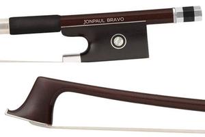 JonPaul JonPaul Bravo 4/4 brown carbon composite violin bow with nickel mounted ebony frog, USA