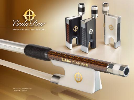 CodaBow CodaBow DIAMOND GX Violin Bow, with Alabaster XEBONY Frog (Full Size)