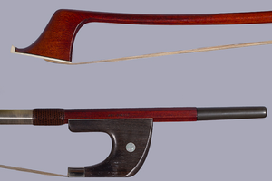 "ARY FRANCE Pernambuco German bass bow, ""Initiation"""